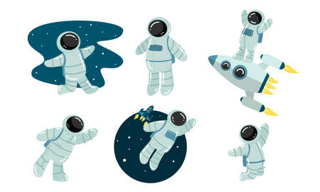 Set of astronaut discovering outer space. Vector illustration in flat cartoon style. Vectores