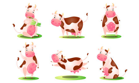 Set of a cute funny cow standing in different poses on grass. Vector illustration in flat cartoon style.