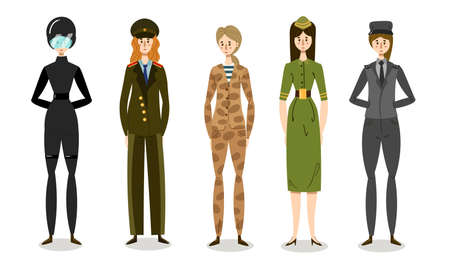 Set of young women soldiers in combat uniforms. Vector illustration in flat cartoon style. Vettoriali