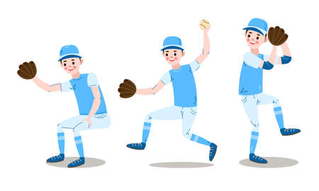 Set of baseball player character in different poses. Vector illustration in flat cartoon style.