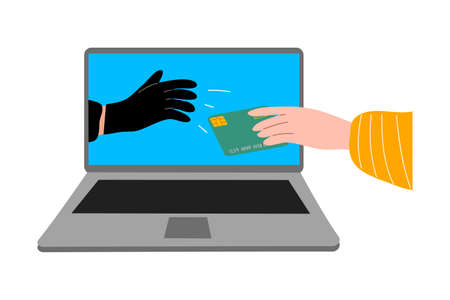 Cyber hackers thieves hand in laptop stealing money from a user's hand online. Hacking the internet social network concept. Isolated vector illustration on white background in cartoon style
