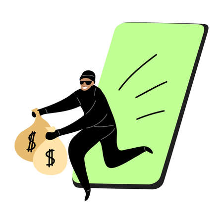 Cyber hackers thief stealing money from a smartphone wallet. Hacking the internet social network concept. Isolated vector icon illustration on white background in cartoon style.