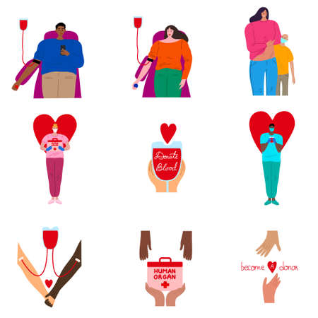 Collection set of different people donors giving blood in a medical hospital. Volunteers characters donating blood and organs concept. Isolated vector illustration on white background in cartoon style 向量圖像