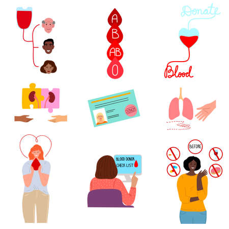 Collection set of different icons in thematic of donating blood and organs. Volunteers characters donating blood and organs concept. Isolated vector illustration on white background in cartoon style 向量圖像