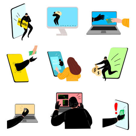 Collection set of hacking the internet social network concept. Hacker activity with bug, phishing, crack, spam, stealing money, account password, personal data. Vector illustration on white background