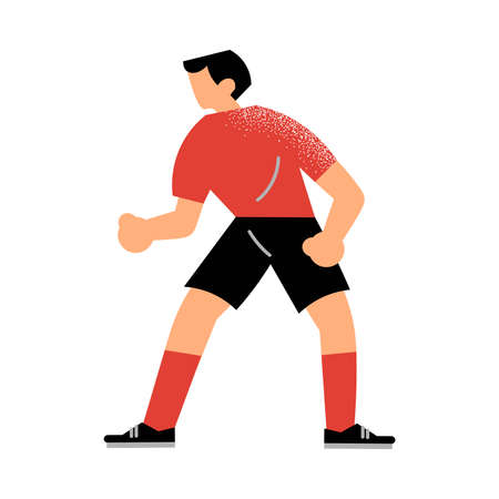 Male rugby player in the black shorts standing in defensive position. Rugby player character in action concept. Isolated vector icon illustration on white background in cartoon style. Çizim