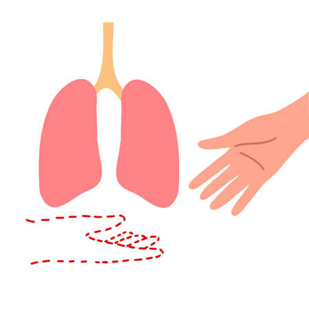Symbol of organ donation lungs with two hands of donor and recipient. World Donor Day. Isolated vector icon illustration on white background in cartoon style.