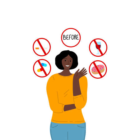 Girl pointing to prohibited food signs before donating blood. Vector illustration in flat cartoon style.