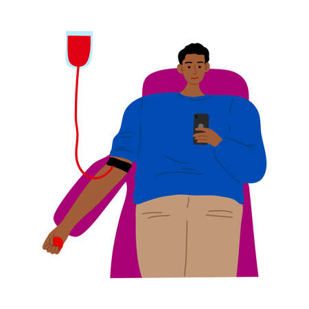 Blood donor and transfusion male character lying with donating bag. Vector illustration in flat cartoon style.