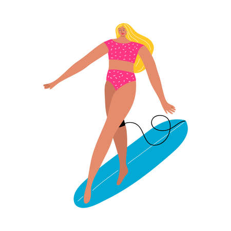 Blond-haired surfer woman in a red swimsuit standing on a sup board. Vector illustration in flat cartoon style.  イラスト・ベクター素材