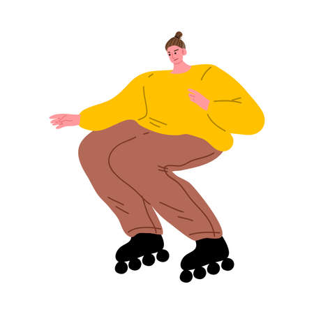 Brown-haired roller skater girl in yellow shirt enjoying outdoor skating. Vector illustration in flat cartoon style.