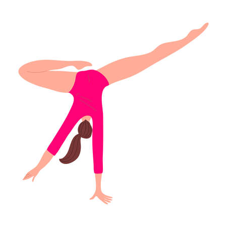 Cute rhythmic gymnast girl in red leotard shows performance. Vector illustration in the flat cartoon style