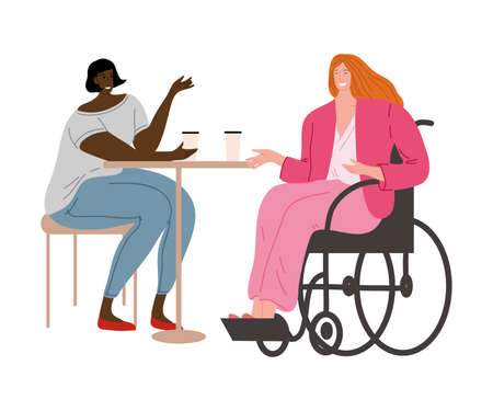 Happy smiling disabled girl in pink clothes sitting in a wheelchair with her friend. Vector illustration in flat cartoon style. Ilustração