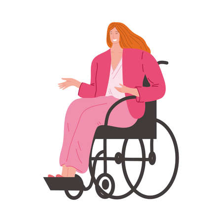 Happy smiling disabled girl in pink clothes sitting in a wheelchair. Vector illustration in flat cartoon style. Ilustração