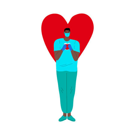Nurse man in the blue mask with the blood donation bag concept. Big red heart sign behind. Vector illustration in flat cartoon style.