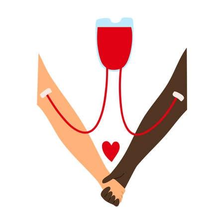 Blood transfusion from the donors hand to the recipient s hand with a red heart sign. Vector illustration in flat cartoon style. Ilustração