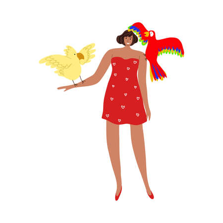 Cute smiling girl in red dress taking a photo with two parrots. Vector illustration in flat cartoon style Illustration