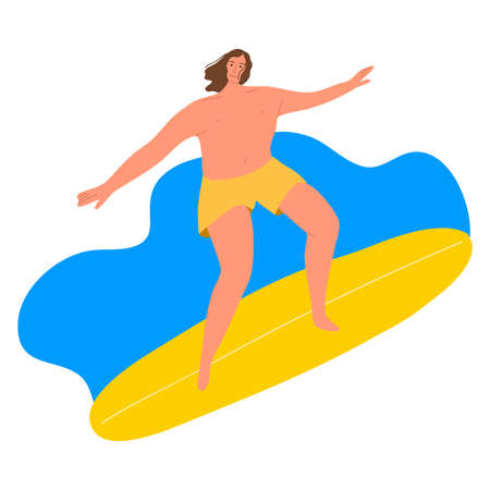 Surfer man in yellow shirts riding on waves with the surfboard. Vector illustration in the flat cartoon style.
