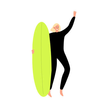 Surfer man character in a black wetsuit standing with a surfboard and gesturing by hand. Vector illustration in flat cartoon style