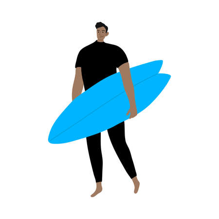 Surfer man character in a black wetsuit standing with a blue surfboard. Vector illustration in flat cartoon style