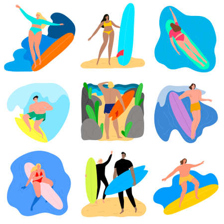 Set of surfers men and women characters with surfboards in different poses riding on waves. Vector illustration in flat cartoon style