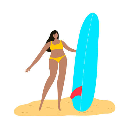 Surfer girl character in a yellow swimsuit standing on a beach with a surfboard. Vector illustration in flat cartoon style  イラスト・ベクター素材