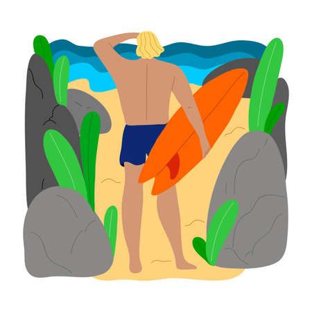 Blond-haired surfer man character in blue swim shorts standing on a beach between rocks with a surfboard. Isolated vector icon illustration on a white background in cartoon style.