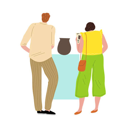 Couple of man and woman standing in an art gallery viewing an ancient vase. Vector illustration in flat cartoon style