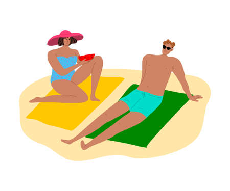 Happy couple of man and woman in swimsuits sunbathing on towels at the beach. Vector illustration in flat cartoon style