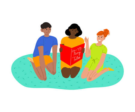 Smiling kids sitting on floor and reading book vector illustration 矢量图像