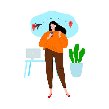 Woman booking tickets and planning travelling in office vector illustration