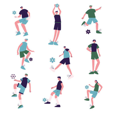 Young boys football players playing football outdoors vector illustration
