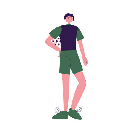 Young boy football player standing holding ball vector illustration