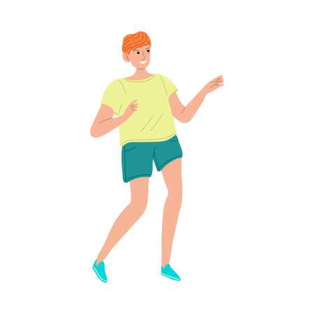 Smiling red haired kid boy in sports clothing playing outdoors vector illustration Ilustración de vector