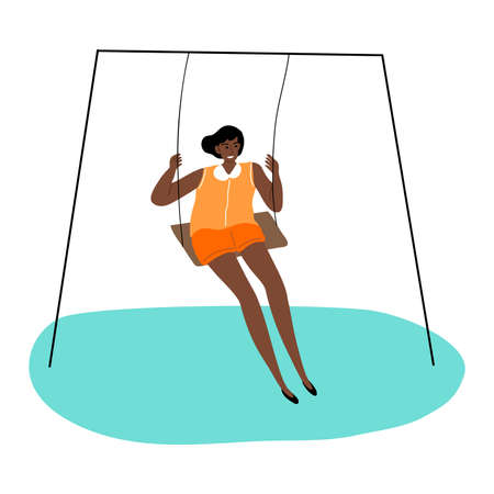 Black kid girl riding on swing and feeling happy vector illustration  イラスト・ベクター素材