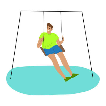 Kid boy riding on swing and feeling happy vector illustration