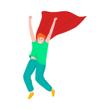 Happy kid boy playing and wearing red superhero cloak illustration 写真素材 - 143581804