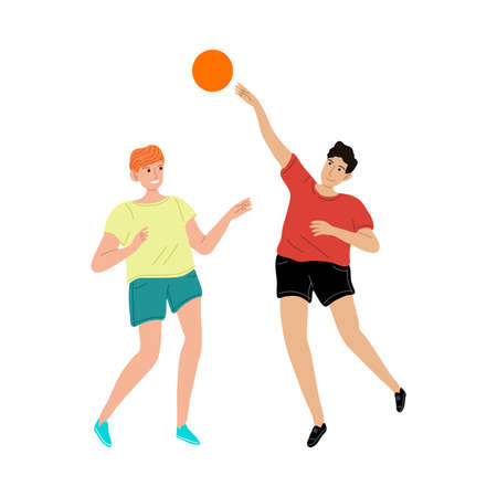 Smiling kids boys friends playing ball vector illustration  イラスト・ベクター素材