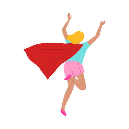 Happy kid girl playing and wearing red superhero cloak illustration