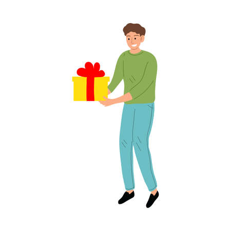 Smiling kid boy carrying birthday present box illustration