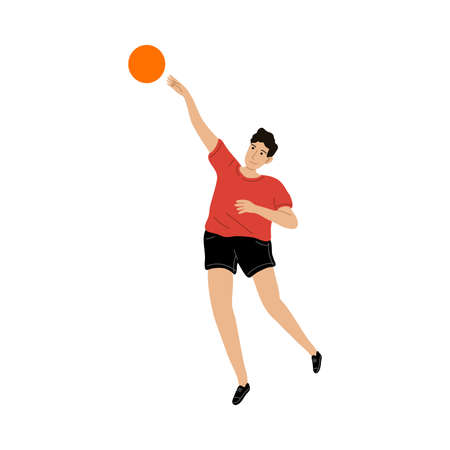 Smiling kid boy in sports clothing playing ball outdoors illustration