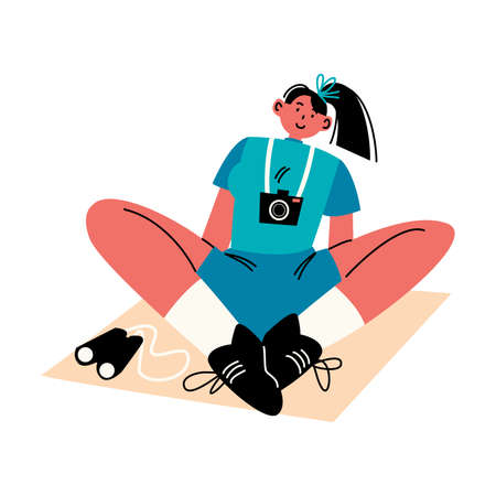 Girl traveler sitting with camera and binoculars vector illustration