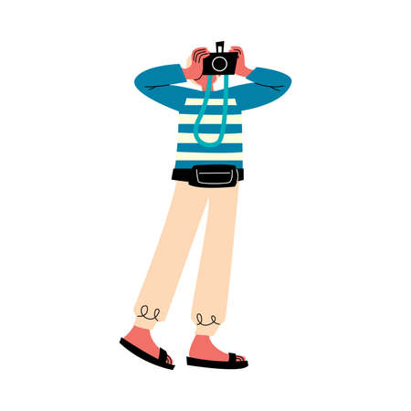 Young man traveler standing and making photo vector illustration