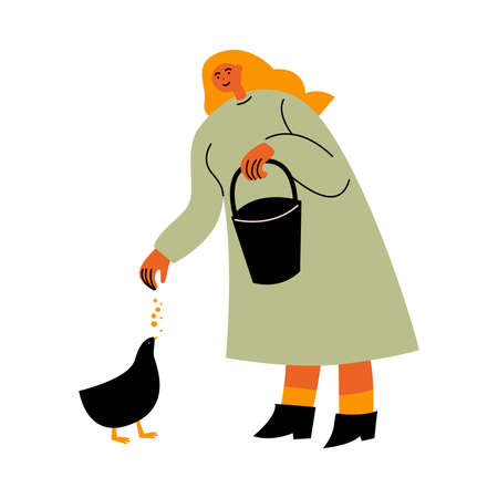 Hand drawn happy woman farmer standing and feeding chiken with seeds on farm over white background vector illustration. Clean eating and living on nature lifestyle concept 向量圖像
