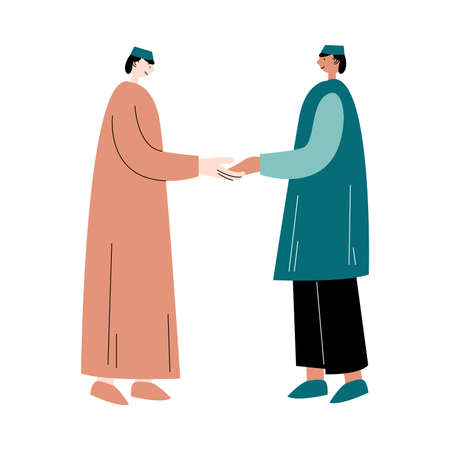 Two muslim men standing and greeting each other vector illustration Illustration