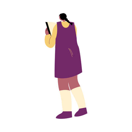 Girl in purple dress standing and enjoying reading book vector illustration