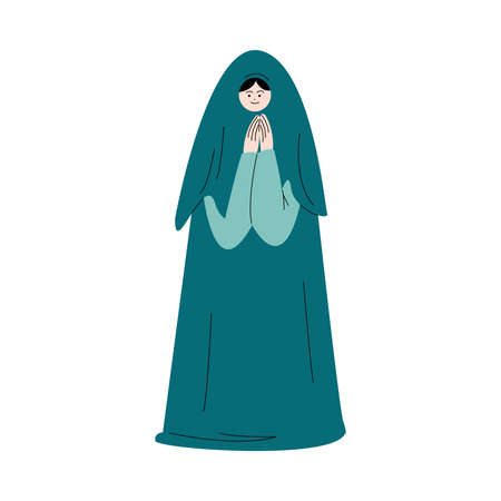 Muslim woman in green traditional hijab standing and praying vector illustration