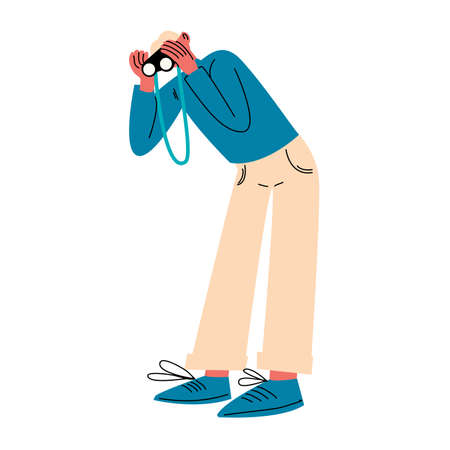Young man traveler standing and looking at binoculars vector illustration