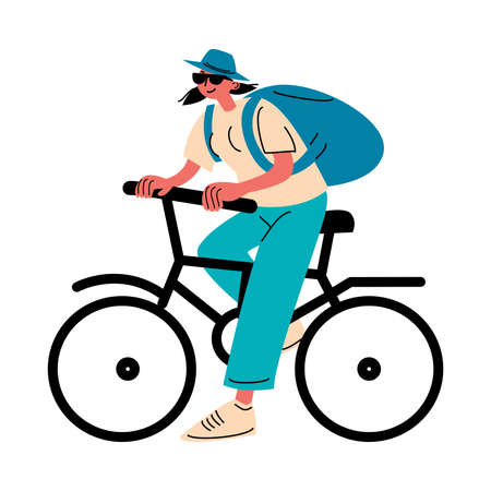 Young girl traveler with backpack riding bycycle vector illustration 写真素材 - 143599314
