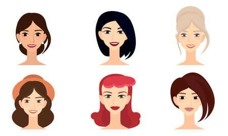 Set of female faces with different hairstyles and hair colors vector illustration Ilustración de vector